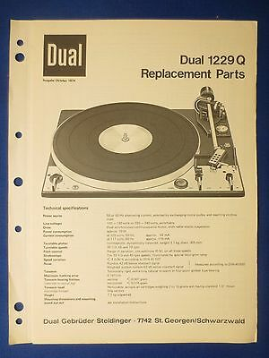 Dual 1229Q Parts Exploded View Manual Original Factory Issue The Real Thing
