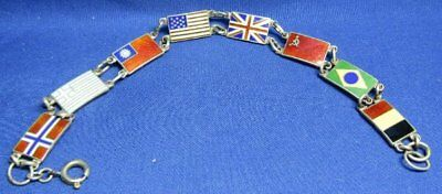WWII Sterling China, USA, British, French Allied Flags Bracelet VERY UNIQUE