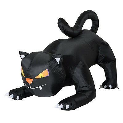 HOMCOM Inflatable Black Cat 1.2m with 3 LED Halloween Decoration Indoor-Outdoor