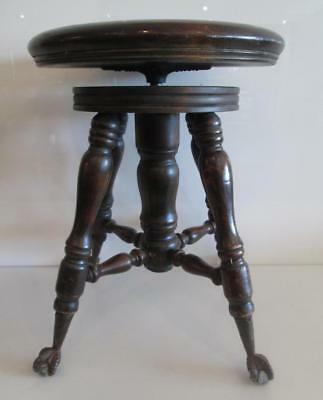 Antique A. Merriam Co. Victorian Oak Glass Ball & Claw Foot Piano Organ Stool