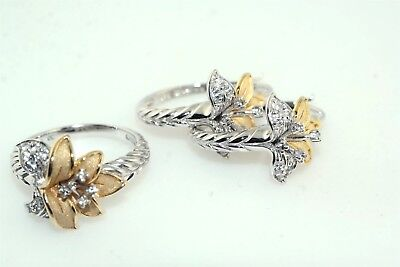 Lily Flower Two Tone Sterling Silver White Sapphire Ring & Earring Set