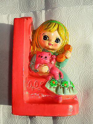 Vintage Kids Bookend 1969 Holiday Fair INC. made in japan Blond Little Girl
