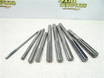 """Lot Of 8 Hss Straight Shank Chucking Reamers .1875"""" To .5340"""" Cleveland"""