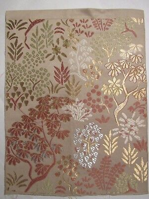 """Artist Tree's Gorgeous Forest Embroidery OBI Silk Fabric Japan 15"""" ~ NR 8425"""