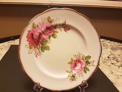 "Six Vintage Royal Albert ""american Beauty"" Dessert Plates 7 1/4 Inches"