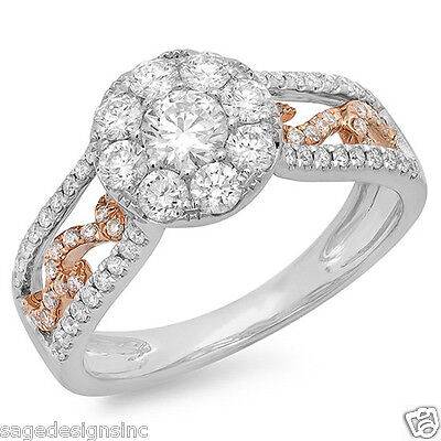Womens 1.07 CT 14K Two Tone Rose White Gold Beaded Paisley Cluster Diamond Ring