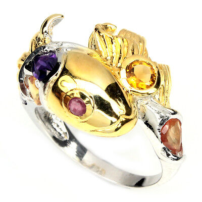 Alluring Top Intense Purple Amethyst Citrine Ruby 925 Sterling Silver Ring 8.5