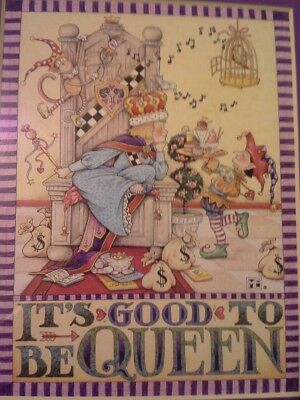 """Mary Engelbreit Framed Picture """"It's Good To Be Queen"""" 8 X 10"""