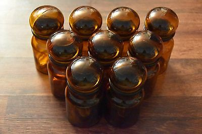 "vintage NEW brown Belgium Apothecary Jar container w/ bubble Lid 5.5"" canister"