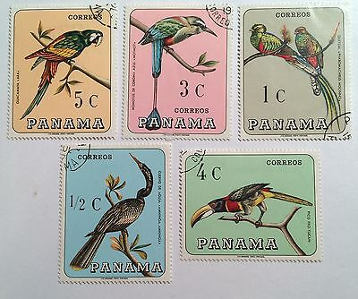 postage stamps Panama lot of 5 Tropical birds