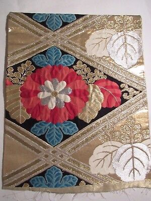 """Flowers Heavy Embroidered Silver Gold Raised OBI Silk Fabric Japan 14"""" ~ NR 8353"""