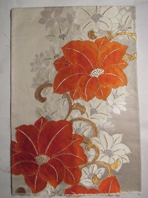 """Stunning Bright Floral Embroidery Shimmering OBI Silk Fabric Japan 17"""" ~ NR 8533"""