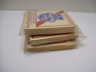 Vintage Two-Sided Pabst Blue Ribbon Beer Bar Coasters - Quantity 30 Coasters