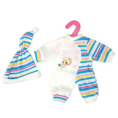 Blue Striped Pajamas PJS Nightwear Clothes for 14-16 inch Dolls Accessory