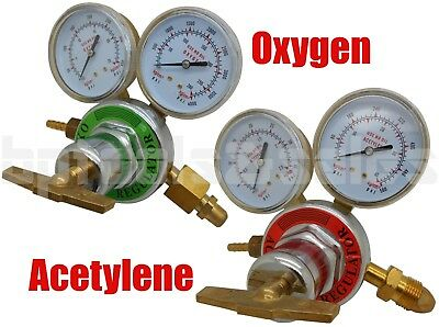 Solid Brass OXYGEN & ACETYLENE Regulators 4 Welding Fit Victor Gas Torch Cutting