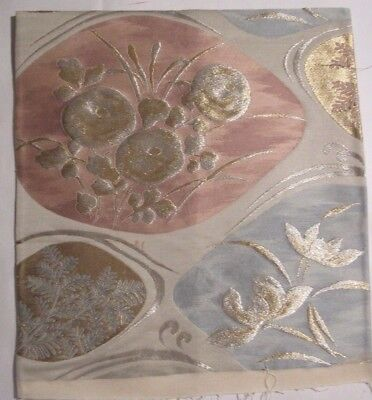 """Pink and Blue Poppies Raised Gold Silver OBI Silk Fabric Japan 12"""" ~ NR 8359"""
