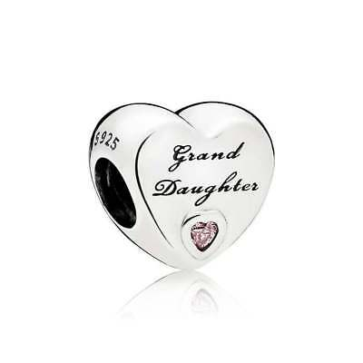 Genuine Pandora Sterling Silver Granddaughter's Love Charm with Pandora Pouch