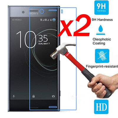 2xGenuine Tempered Glass Screen Protector Film Guard for Sony Xperia XZ1 Compact