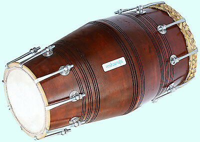 Gajra Dholak (Dholki) Made Of Wood, Bolt-tuned, with Tuning Spanner MI 018