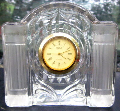 "superb MIKASA quartz bedside / mantle clock with crystal case - 3 3/4"" x 4"" x 1"""