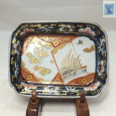 B019: Japanese OLD IMARI colored porcelain square plate with good painting