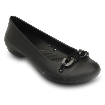 ba294547829aa CROCS GIANNA LINK Flat Shoes Women Black 8 MSRP  34.99 Free Shipping ...