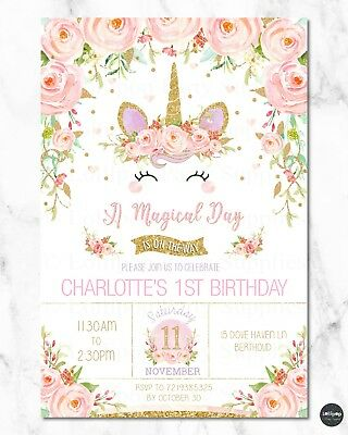 8x UNICORN INVITATIONS GIRLS 1ST FIRST BIRTHDAY PARTY RAINBOW FLORAL ANY AGE