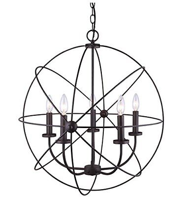 5 Light chain chandelier Oil rubbed bronze finish Requires 5 vintage filament