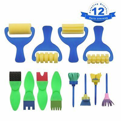 12 in 1 Early Learning Mini Flower Sponge Painting Brushes Set Tools for Kids