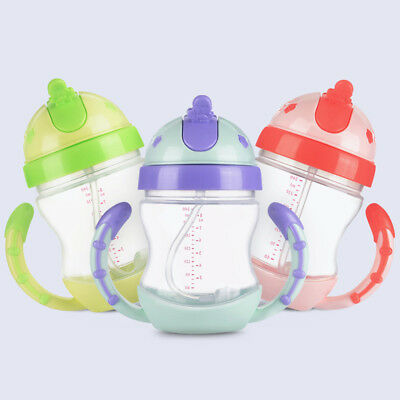240ML Baby Feeding Sippy Cups with Handles Kids Drinking Training Straw Bottle W