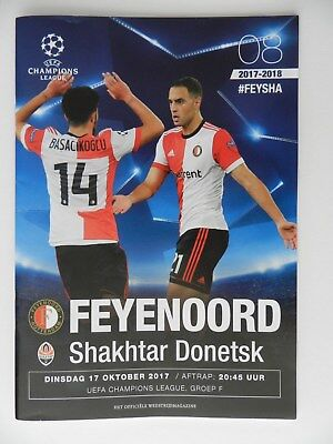 Match day programme FEYENOORD vs Shakhtar Donetsk UEFA champions League 2017