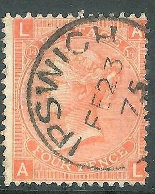 Great Britain 1865 vermilion 4d plate 14 used SG94