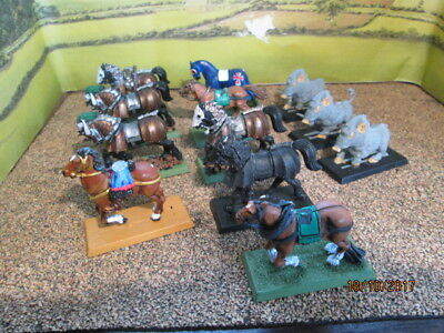 Job Lot Of 12 Plastic Warhammer Horses And Other Mounts