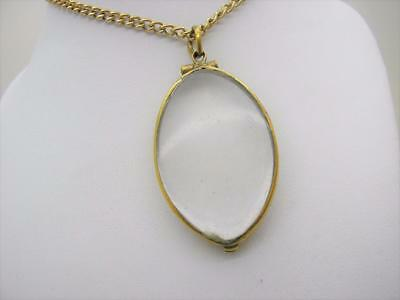 Georgian 18ct Gold Double Sided Glass Locket & 9ct Gold Chain 20""