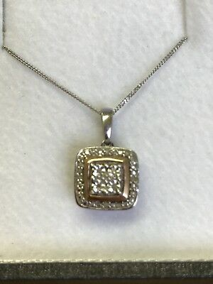 """White And Rose Gold Diamond Square Pendant With 9ct 18.5"""" White Gold Chain"""