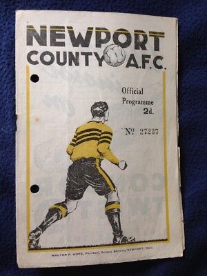 1946 football programme Newport County's only Division 2 season.