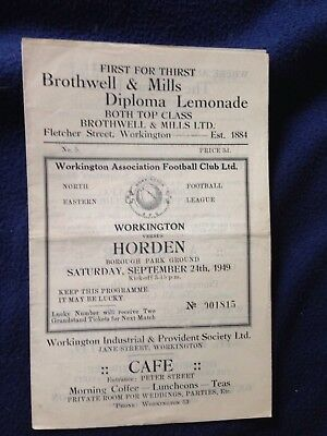 Very rare 1949 football programme Workington v Horden (NE Football League)