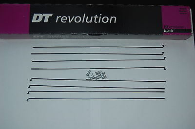 DT Swiss Revolution black spokes 256-304mm pack of 8 with 8 12mm alloy nipples