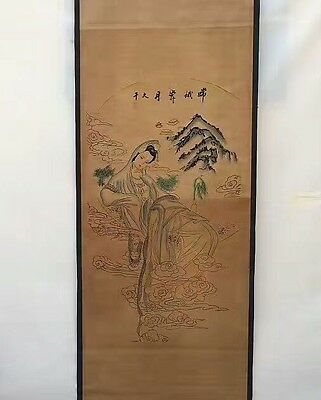 Collectible Old superb China long Scroll Painting Chang E Flying to the Moon