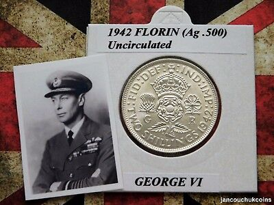 🌟 UNCIRCULATED? 1942 Florin/Two Shilling (Silver .500) George VI