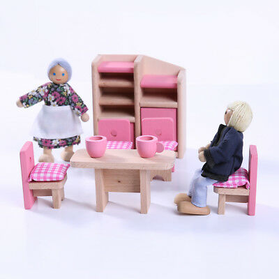 Wooden Dolls House Miniature Pink Dining Furniture SET Kid Pretend Play Toy
