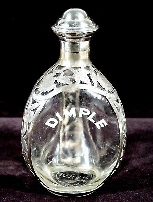Vintage HAIG'S DIMPLE Pinch Bottle Decantor Sterling Silver Overlay Chased