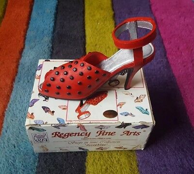Regency Fine Arts Steps In Time Collection Miniature Shoe Figurine Red and box
