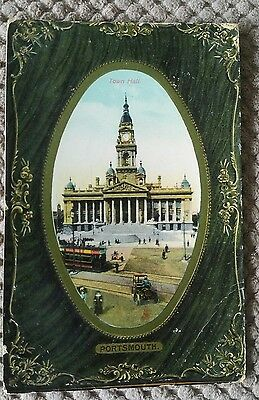 Vintage Postcard The Town Hall, Portsmouth, England 1909