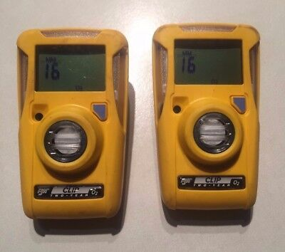 Two Used BW Technologies BWC2-X GasAlert Clip Gas Monitor For O2, Oxygen