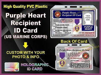 PURPLE HEART Recipient ID Card (USMC)  - Military - United States USA Vet Medal