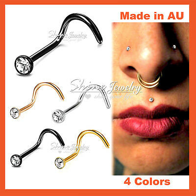 1x Titanium Surgical Steel Dainty Crystal Nose Stud Bone Body Piercing Ring Gift