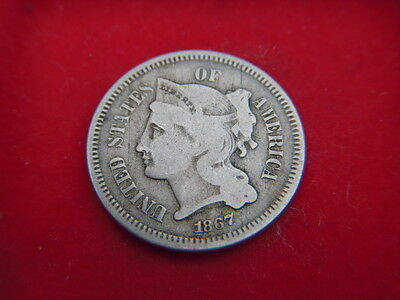 1867 Three Cent Coin  From The United States From My Collection [A88]
