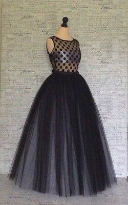 Maxi Tulle Black Grey halloween party ball Mesh Dress net Long Size S M L XL