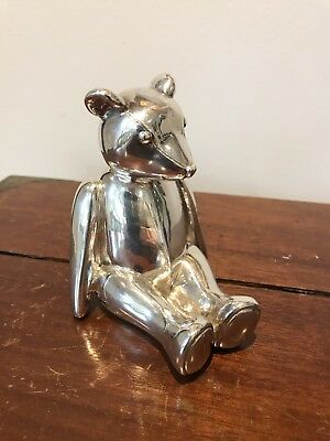 Hallmarked English Silver Figure Of A Teddy bear. Open To Offers.